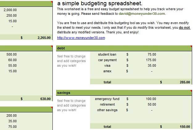 free downloads budget spreadsheets