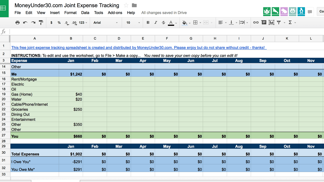 A Simple Spreadsheet For Tracking Shared Expenses - Free google docs invoice template dollar store online