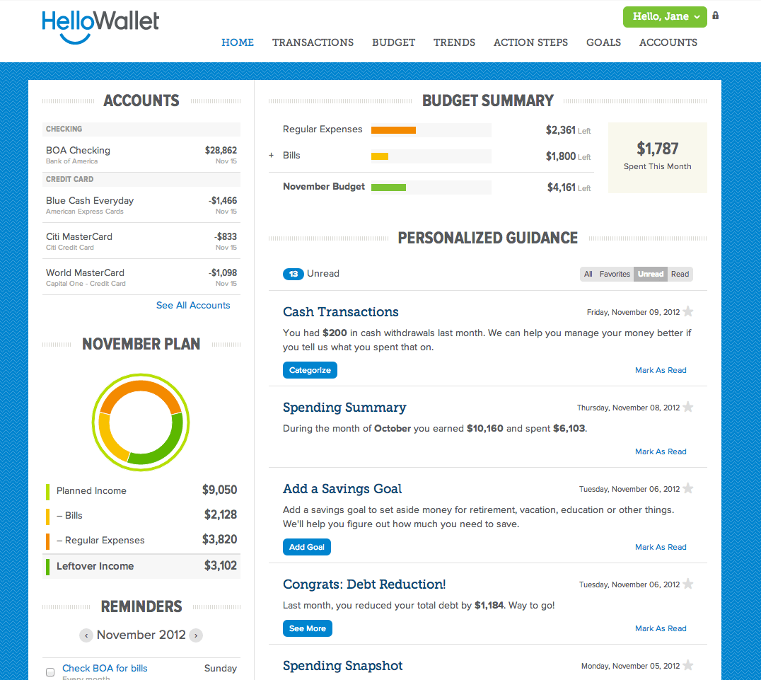 Best budgeting tools: HelloWallet