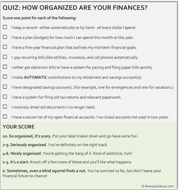How organized are your finances? Take this quiz and find out?