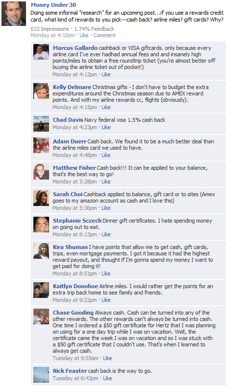 Money Under 30's Facebook fans respond to my question---do you prefer credit card cash back or miles rewards?