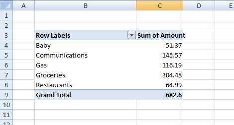 You can create an Excel Pivot Table that will calculate how much you spent by category.