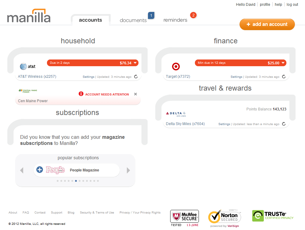 If you're not interested in tracking every transaction, Manilla provides a simple way to organize bills in one place.
