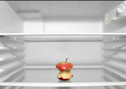 Apple core in fridge