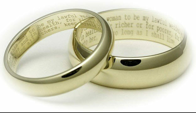 "wedding rings with ""for richer or for poorer"" engraving"