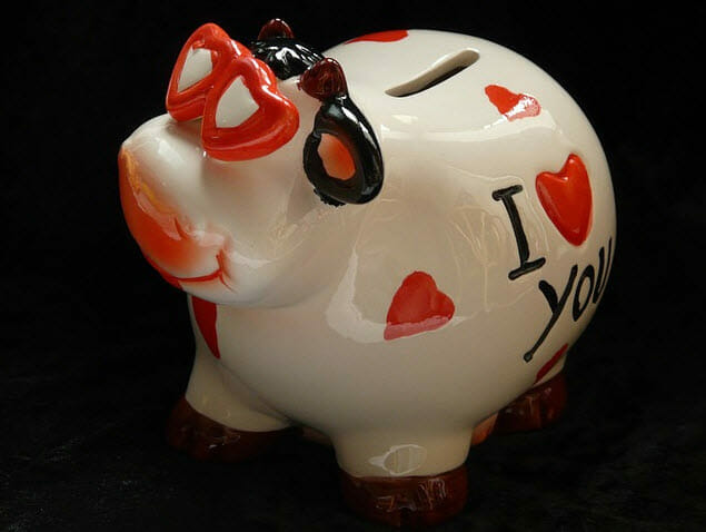 piggy bank with hearts on it