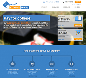 CuStudentLoans provides private student loan refinancing from nonprofit credit unions.