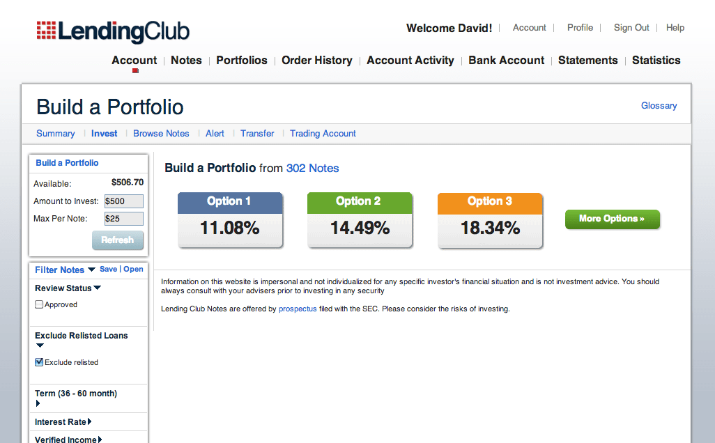 Building an investor portfolio with LendingClub.