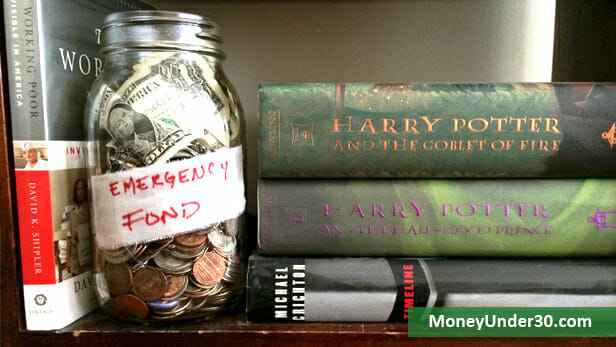 bookshelf money jar