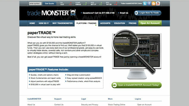 tradeMONSTER is a recommended broker for new investors, offering low-commission trades and powerful research tools.