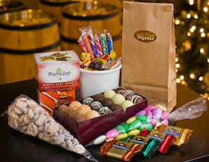 A gift bag or basket of gourmet chocolate truffles or bars