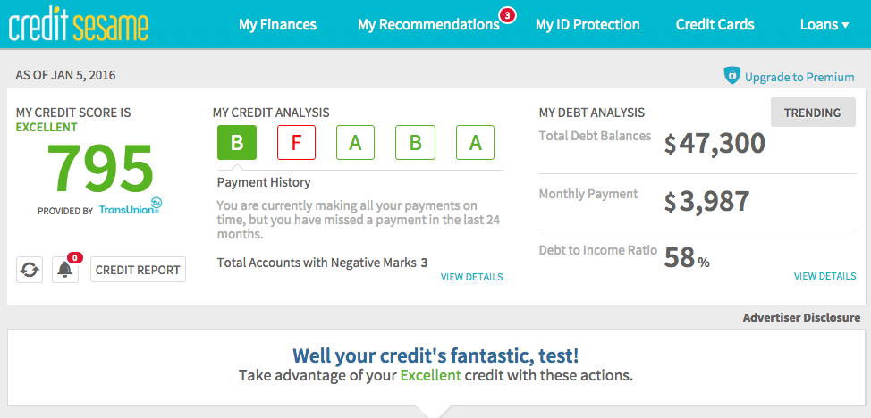 Credit Score Report >> Get A Free Credit Report And Score Honest