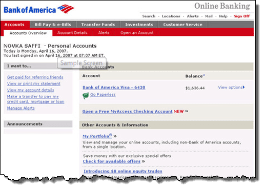 bank of america online checking