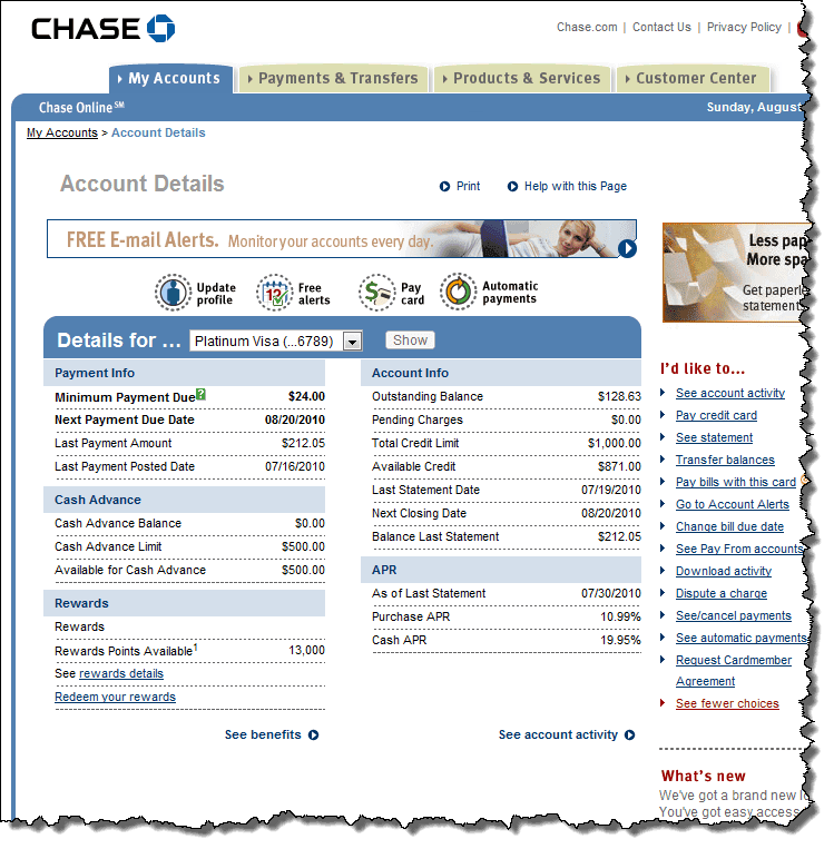 gallery for chase online banking