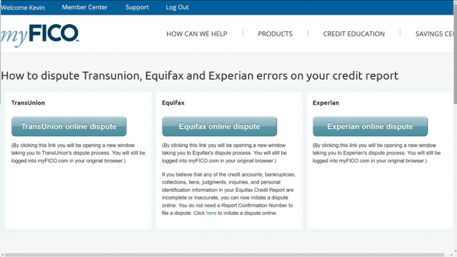 Specifications For  Myfico Fico Score Credit Report