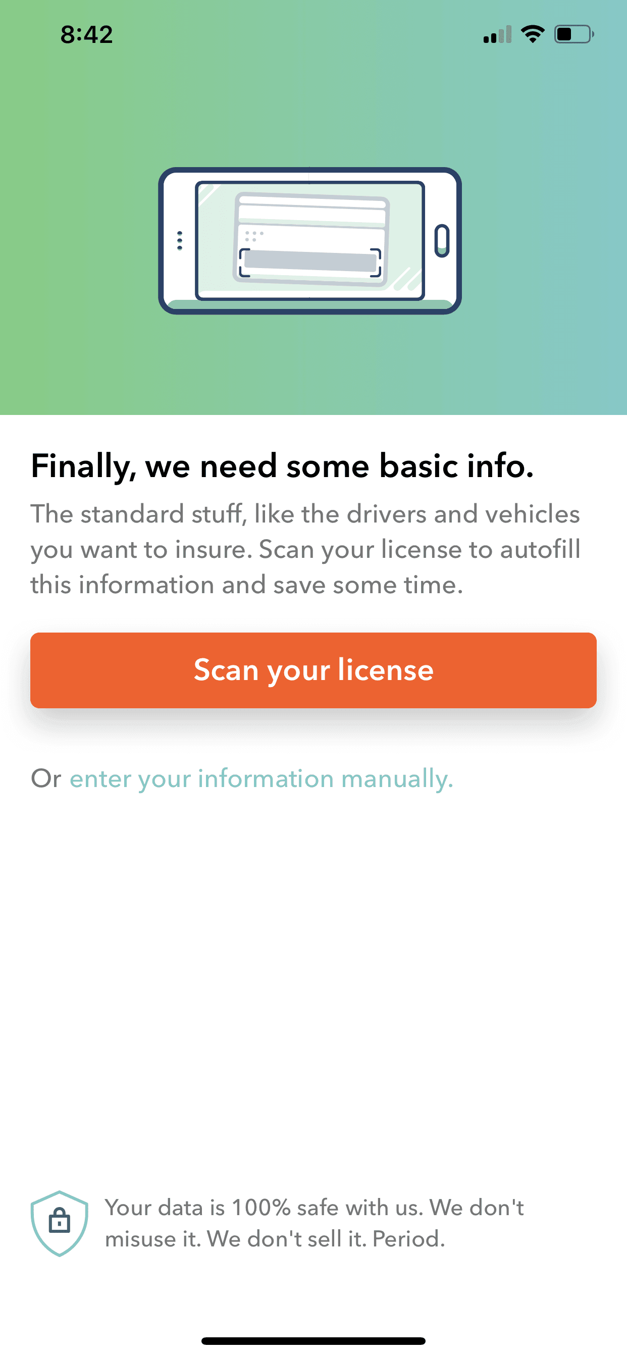 Root Car Insurance Review - Scan your license