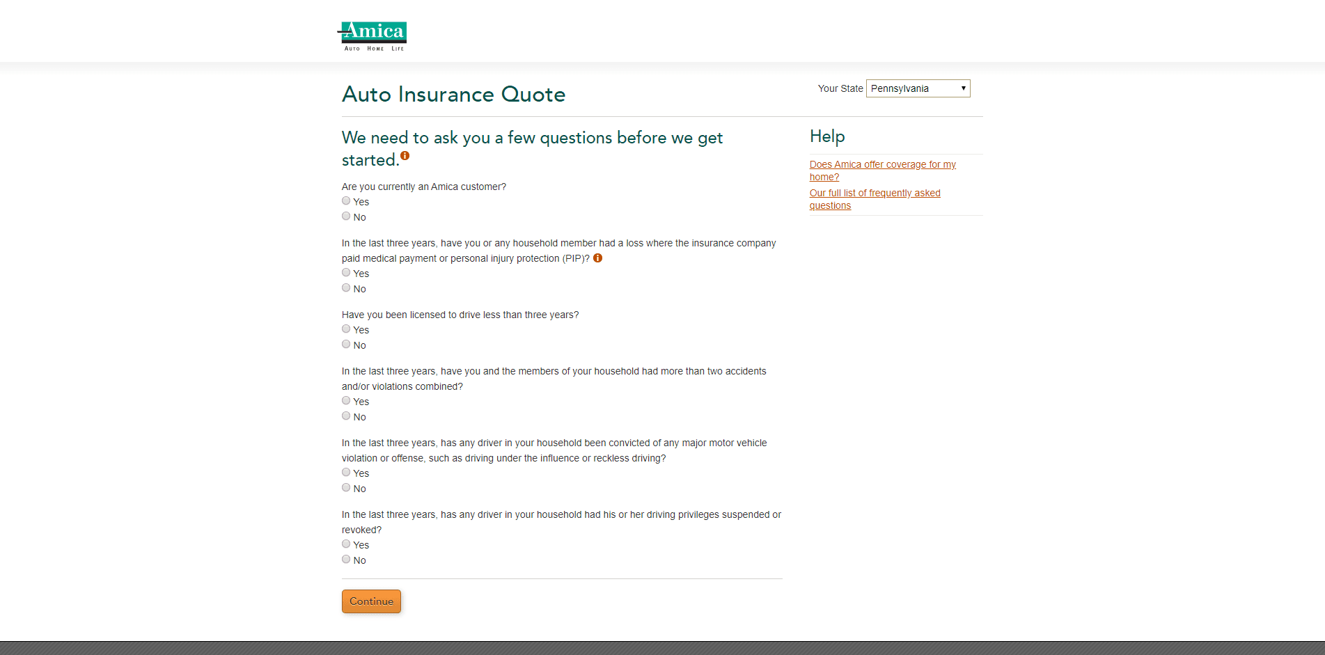 Amica Insurance Review - Questionnaire