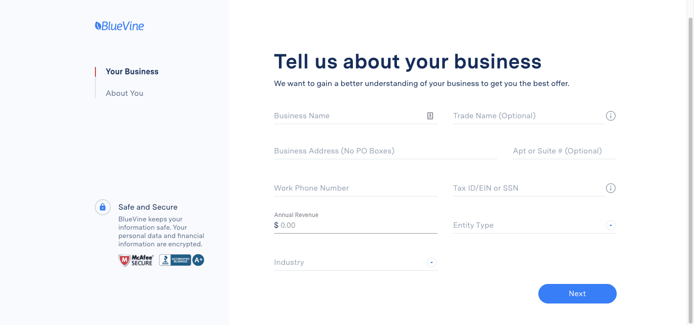 BlueVine Business Bank Review: Checking Built For Small Business - Tell us about your business
