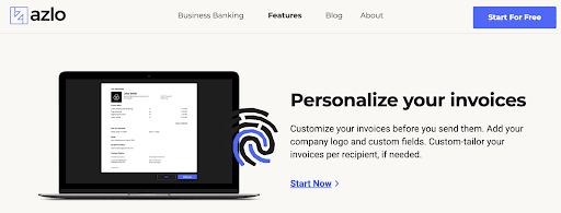 Azlo Review: My Experience Researching Azlo's Banking Features - Personalize your invoice