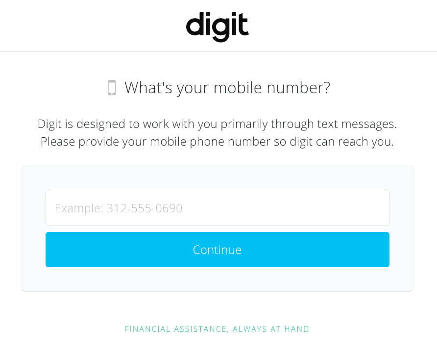 Digit.co Review: A Free App To Put Your Savings On Autopilot REWRITE - What's your mobile number?