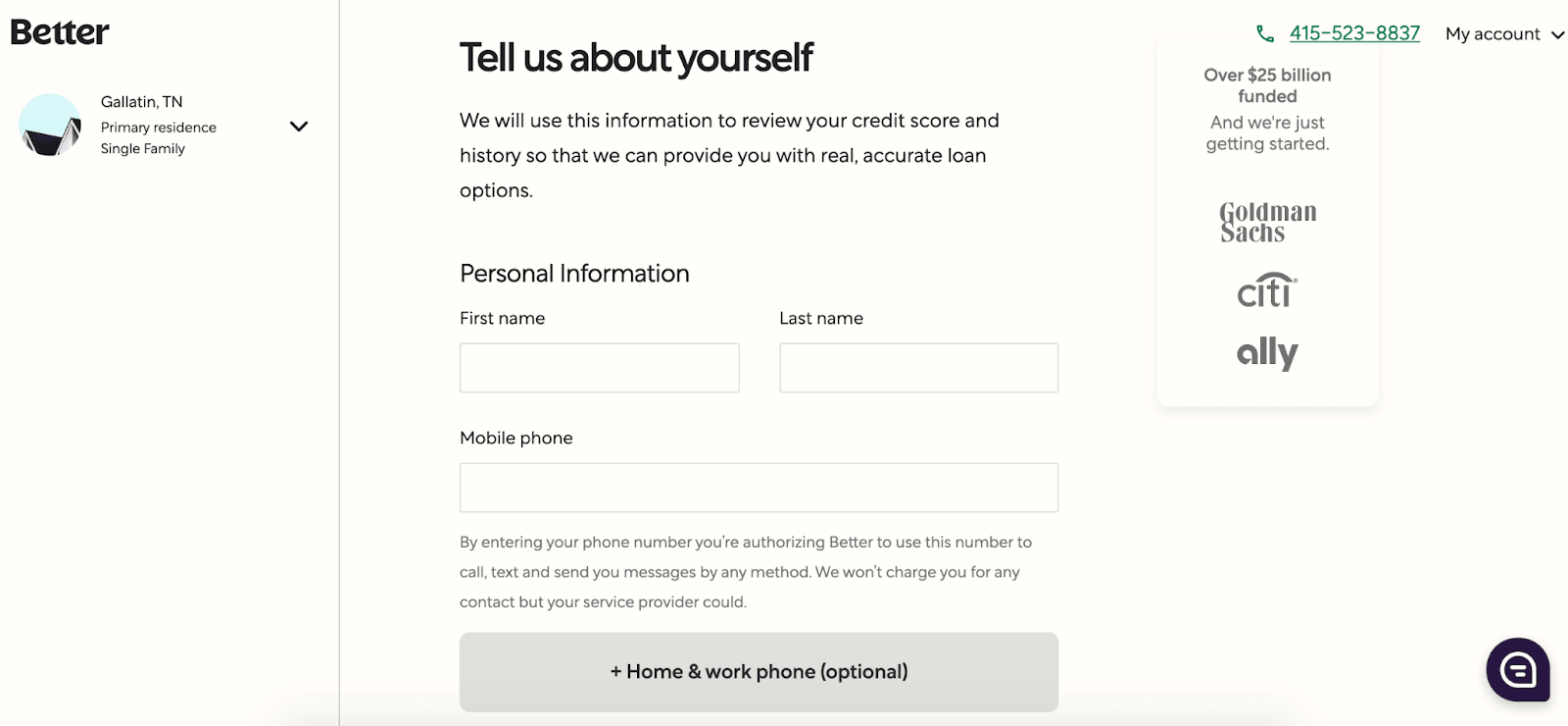 Better.com: Affordable Mortgages In An Easy-to-Use Platform - Tell us about yourself