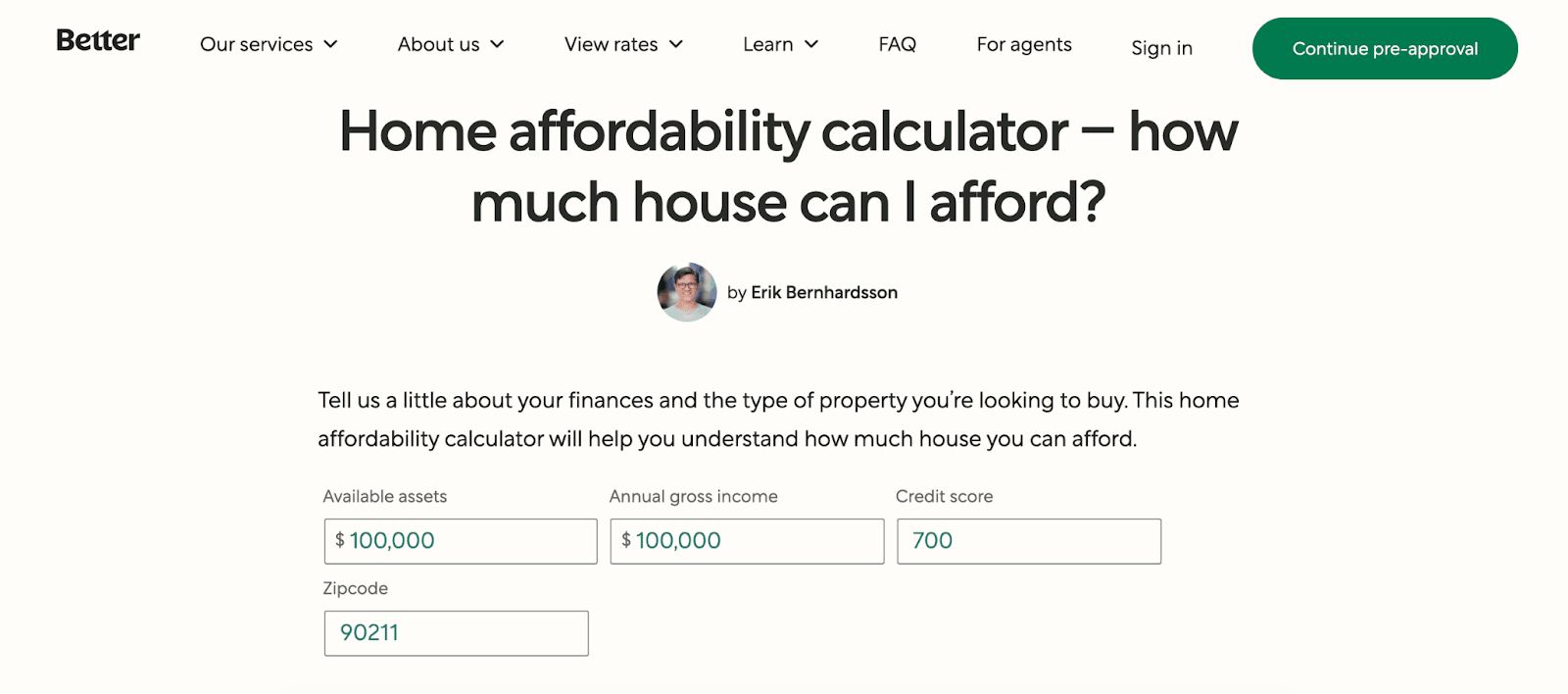 Better.com: Affordable Mortgages In An Easy-to-Use Platform - Home affordability calculator