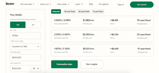 Better.com: Affordable Mortgages In An Easy-to-Use Platform - Personalize rates
