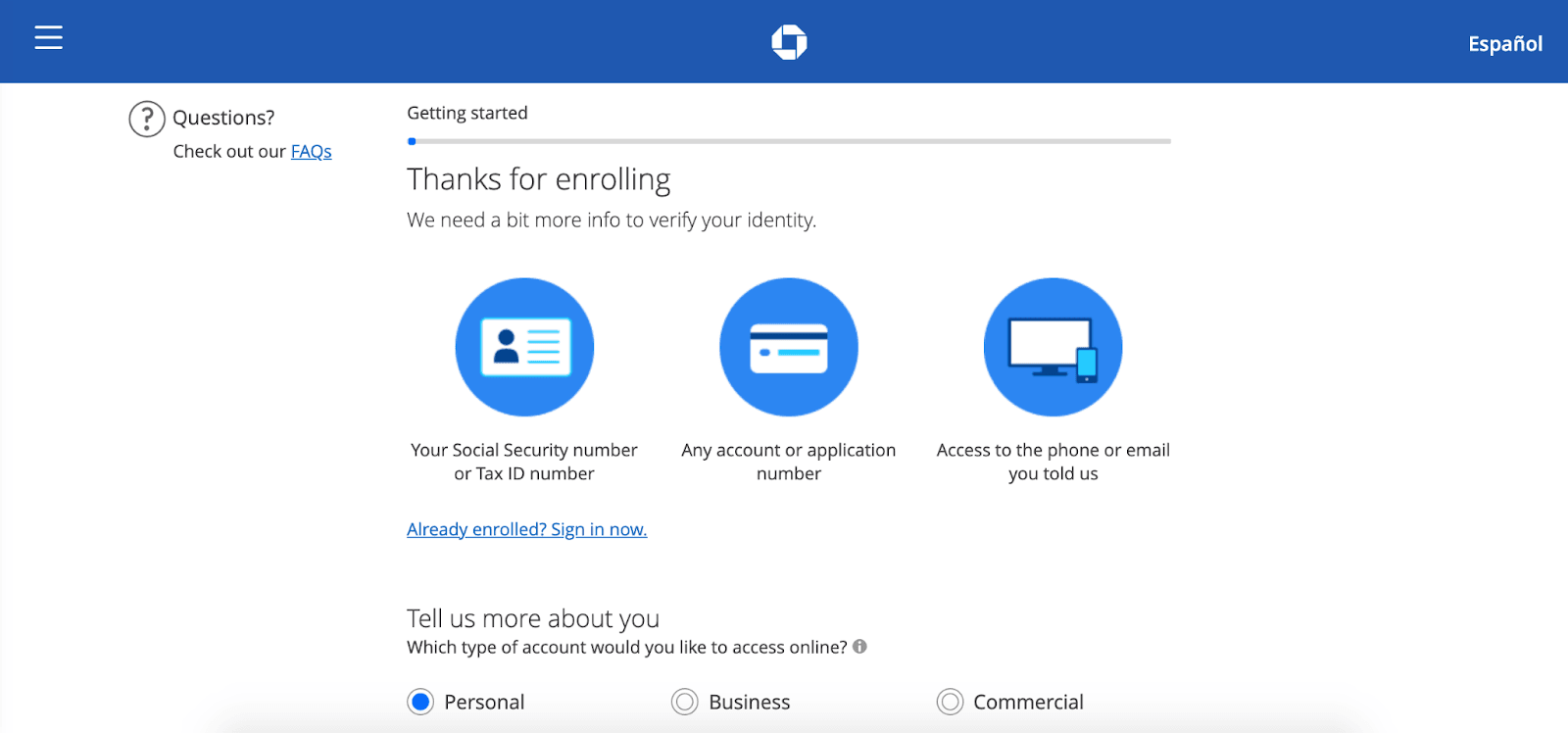 Chase Bank Review: Combining Online And Local Banking - More info to verify your identity