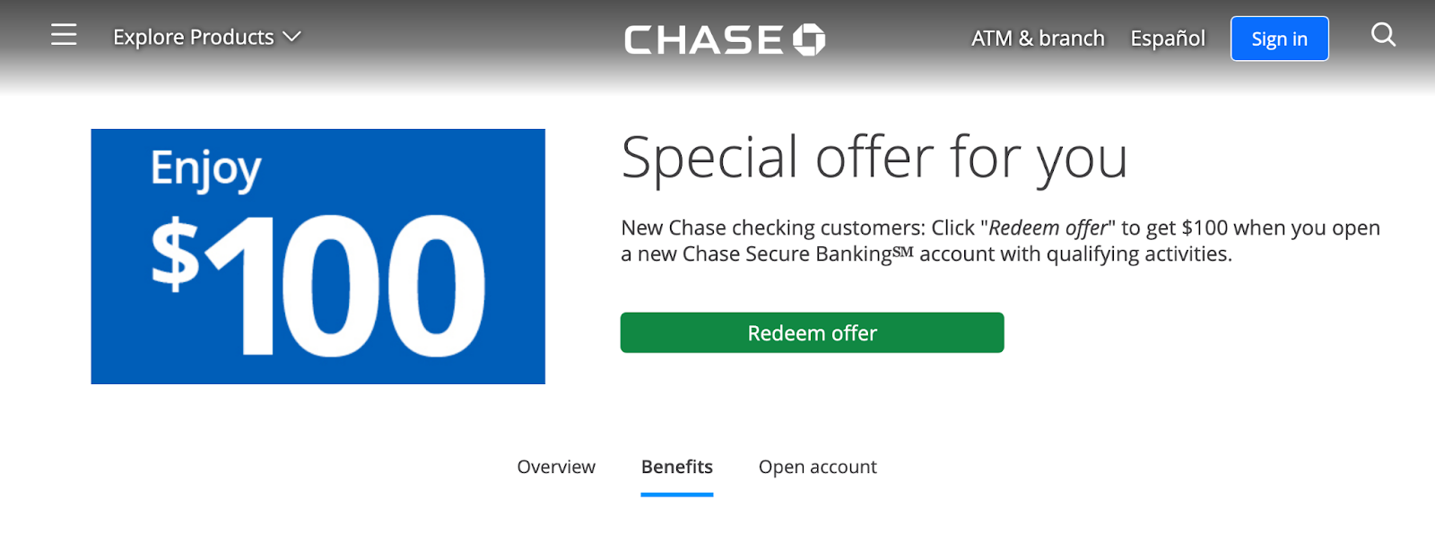 Chase Secure Banking Review: Corporate Banking with Online Convenience - Redeem offer