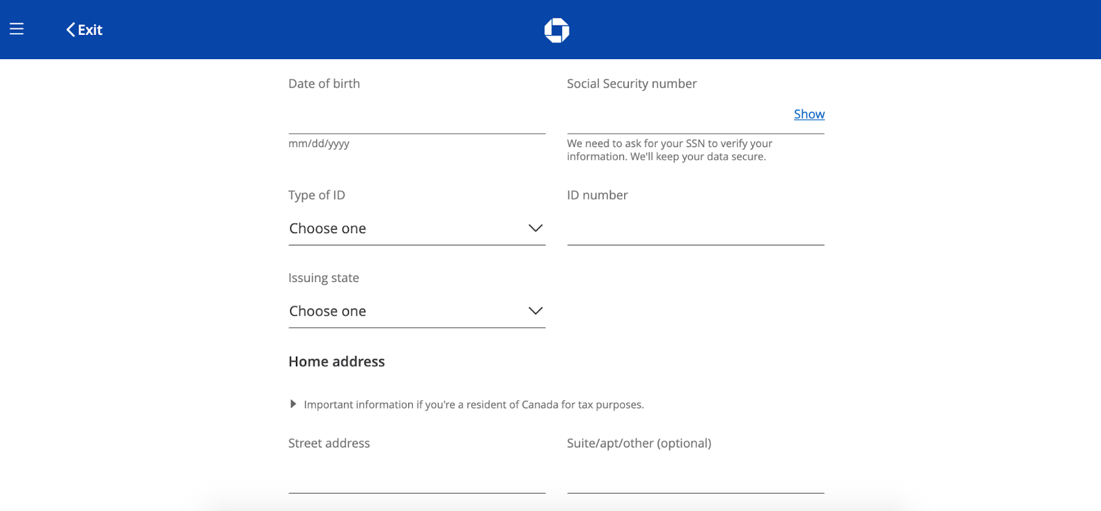 Chase Secure Banking Review: Corporate Banking with Online Convenience - Add identification info