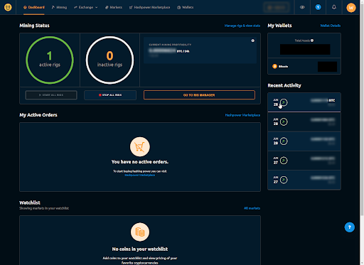 What Is Bitcoin Mining? An Interview With A Crypto Miner - Will's NiceHash dashboard